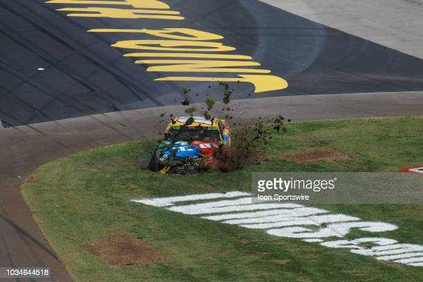 Kyle Busch Joe Gibbs Racing Toyota Camry crashes in the infield during the inaugural South Point 400 Monster Energy NASCAR Cup Series race on...