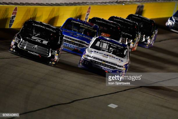 Kyle Busch KBM Toyota Tundra and Johnny Sauter GMS Racing Chevrolet Silverado battle during the Stratosphere 200 NASCAR Camping World Truck Series...