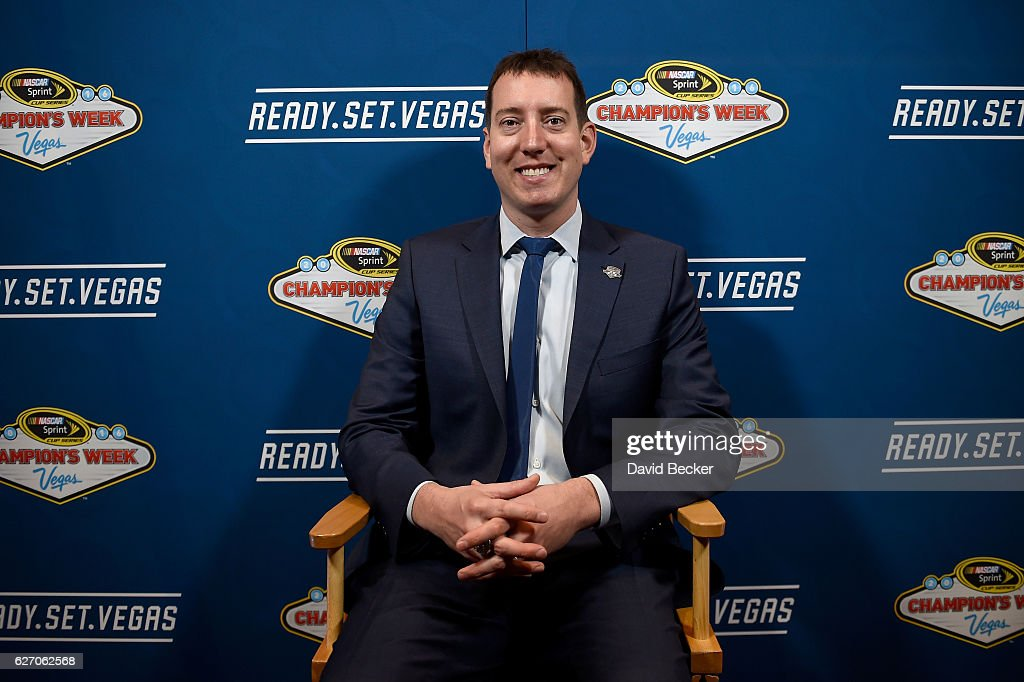 Kyle Busch smiles during media availability after the NASCAR NMPA Myers Brothers Awards Luncheon at Wynn Las Vegas on December 1, 2016 in Las Vegas, Nevada.