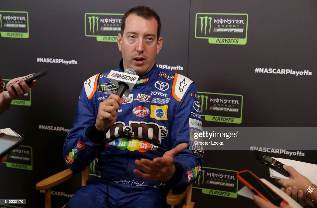 Kyle Busch speaks to the media as one of the 16 drivers eligible to win the Monster Energy NASCAR Cup Series Championship during the 2017 NASCAR Playoffs Production & Media Day at NASCAR Hall of Fame on September 13, 2017 in Charlotte, North Carolina.