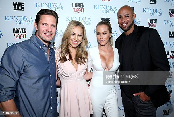 Kyle Carlson, atress Jessica Hall, TV personality Kendra Wilkinson, and former professional football player Hank Baskett attend WE tv's premiere of...