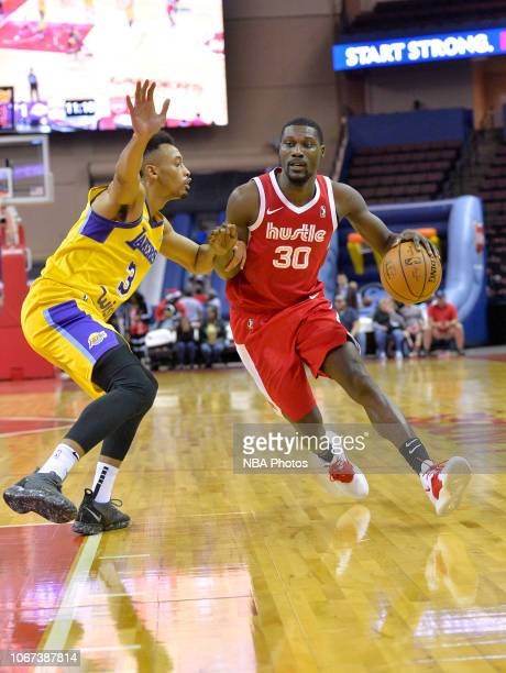 Kyle Casey of the Memphis Hustle drives against Johnathan Williams of the South Bay Lakers during an NBA GLeague game on December 1 2018 at Landers...
