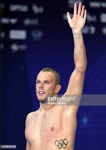 Kyle Chalmers celebrates after winning the final of the Men's 100m Freestyle event during the 2018 Australia Swimming National Trials at the Optus...