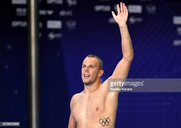 Kyle Chalmers celebrates winning the final of the Men's 100m Freestyle event during the 2018 Australia Swimming National Trials at the Optus Aquatic...