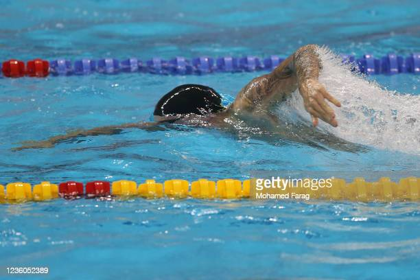 Kyle Chalmers of Australia competes in the Men's 100m Individual Freestyle during day Two of the FINA Swimming World Cup Doha at Hamad Aquatic Centre...