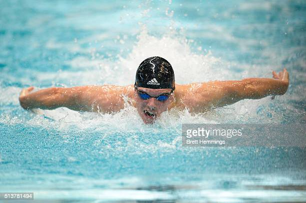 Kyle Chalmers of Australia competes in the Mens 50 Metre Butterfly heats during the 2016 NSW State Open Championships at Sydney Olmpic Aquatic Centre...