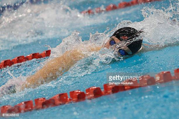 Kyle Chalmers of Australia competes in the Men's Freestyle 100m Final during the 2016 FINA Swimming World Cup at OCBC Aquatic Centre on October 21...