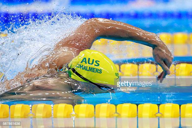 Kyle Chalmers of Australia looks on in the second Semifinal of the Men's 100m Freestyle on Day 4 of the Rio 2016 Olympic Games at the Olympic...