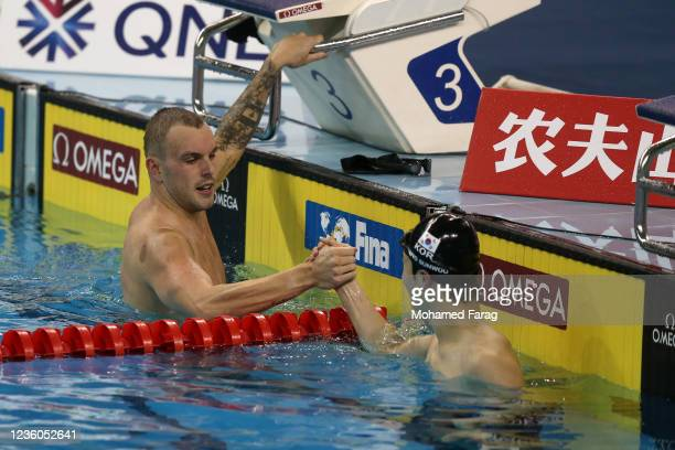 Kyle Chalmers of Australia reacts after winning in the Men's 100m Individual Freestyle during day Two of the FINA Swimming World Cup Doha at Hamad...