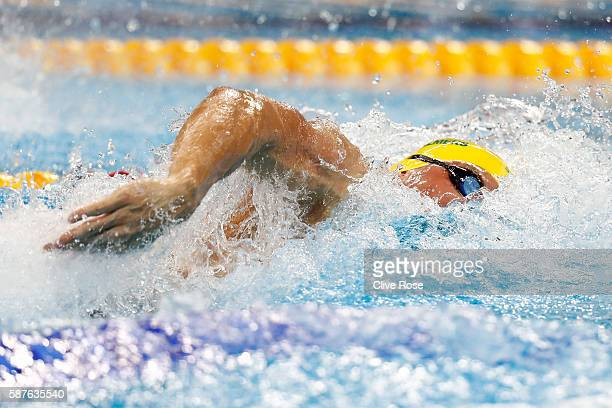 Kyle Chalmers of Australia reacts in the Men's 100m Freestyle heat on Day 4 on Day 4 of the Rio 2016 Olympic Games at the Olympic Aquatics Stadium on...