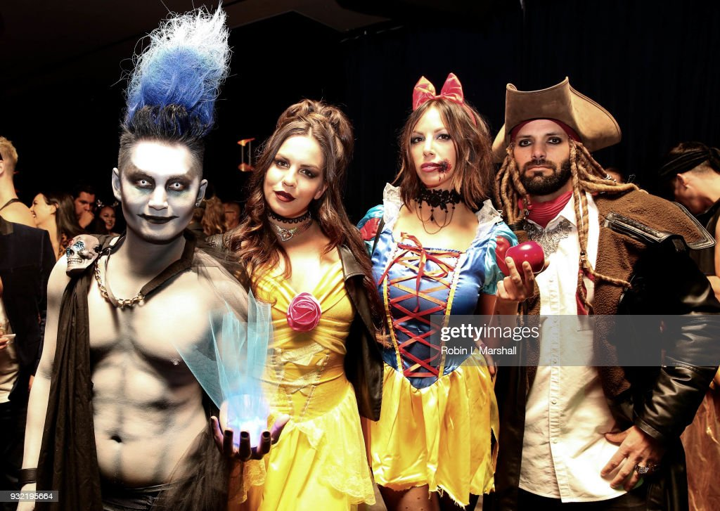 Kyle Chan, Katie Maloney, Kristen Doute and Brian Carter of 'Vanderpump Rules' attend Kyle Chan's Dark Disney Birthday Party at Sofitel Hotel on March 14, 2018 in Los Angeles, California.