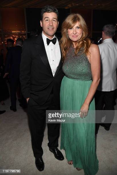 Kyle Chandler and Connie Britton attend The 2020 InStyle And Warner Bros. 77th Annual Golden Globe Awards Post-Party at The Beverly Hilton Hotel on...
