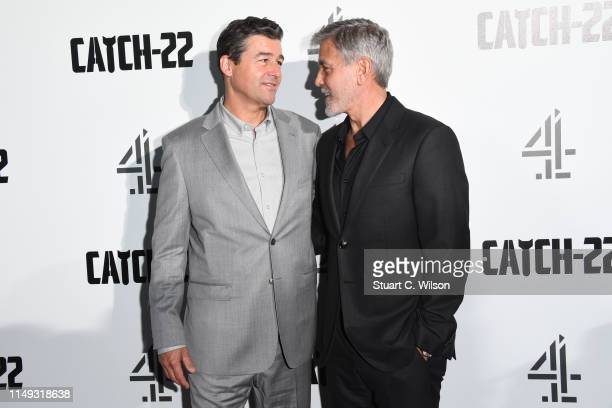 """Kyle Chandler and George Clooney attend the """"Catch 22"""" UK premiere on May 15, 2019 in London, United Kingdom."""