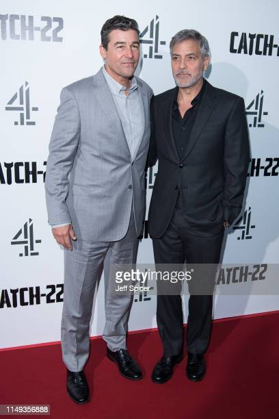 Kyle Chandler and George Clooney attend the Catch 22 UK premiere on May 15 2019 in London United Kingdom