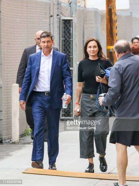 Kyle Chandler and Kathryn Chandler are seen arriving at 'Jimmy Kimmel Live' on May 08 2019 in Los Angeles California