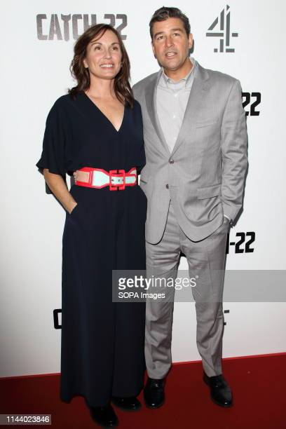 Kyle Chandler and Kathryn Chandler attend the Catch 22 TV Series premiere at the Vue Westfield Westfield Shopping Centre Shepherds Bush