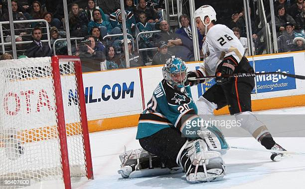 Kyle Chipchura of the Anaheim Ducks shoots the puck in the net past Evgeni Nabokov of the San Jose Sharks during an NHL game on December 26, 2009 at...