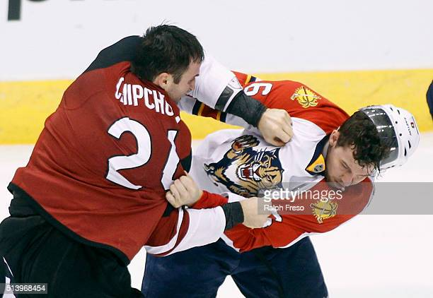 Kyle Chipchura of the Arizona Coyotes and Alex Petrovic of the Florida Panthers tangle during the third period at Gila River Arena on March 5 2016 in...