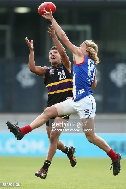 Kyle Clarke of the Bushrangers contests the ball during the round one TAC Cup match between Murray and Gippsland at Ikon Park on April 1 2017 in...