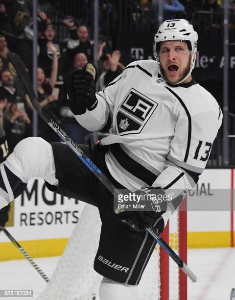 Kyle Clifford of the Los Angeles Kings celebrates after scoring a firstperiod goal against the Vegas Golden Knights during their game at TMobile...