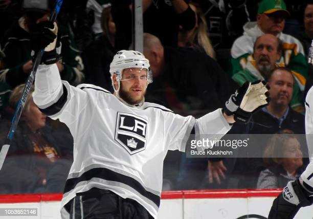 Kyle Clifford of the Los Angeles Kings celebrates his 3rd period goal during a game between the Minnesota Wild and Los Angeles Kings at Xcel Energy...