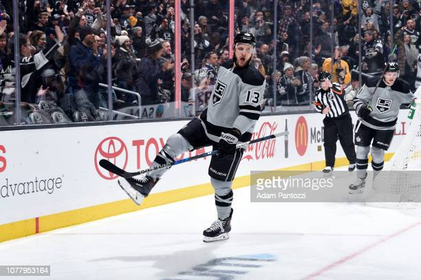 Kyle Clifford of the Los Angeles Kings celebrates his firstperiod goal during the game against the Edmonton Oilers at STAPLES Center on January 5...