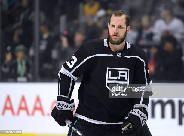 Kyle Clifford of the Los Angeles Kings during warm up before the game against the Toronto Maple Leafs at Staples Center on November 13 2018 in Los...