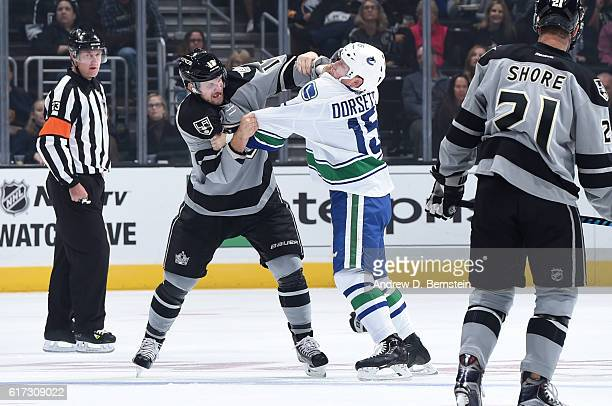 Kyle Clifford of the Los Angeles Kings gets into a scuffle with Derek Dorsett of the Vancouver Canucks at STAPLES Center on October 22 2016 in Los...