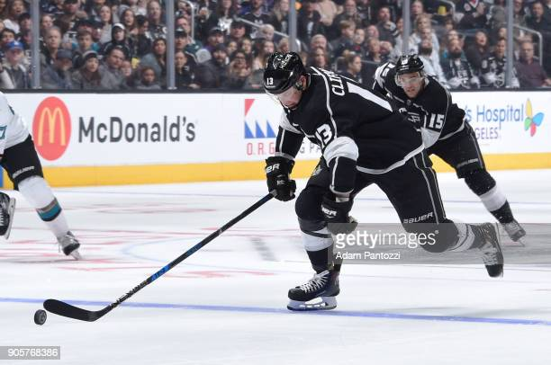 Kyle Clifford of the Los Angeles Kings handles the puck during a game against the San Jose Sharks at STAPLES Center on January 15 2018 in Los Angeles...