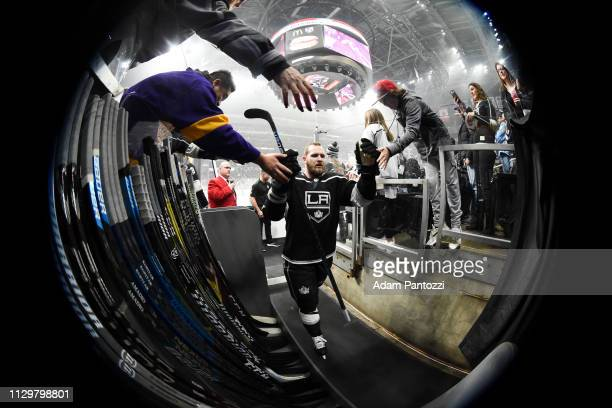 Kyle Clifford of the Los Angeles Kings leaves the ice after warmup before the game against the Vancouver Canucks at STAPLES Center on February 14...