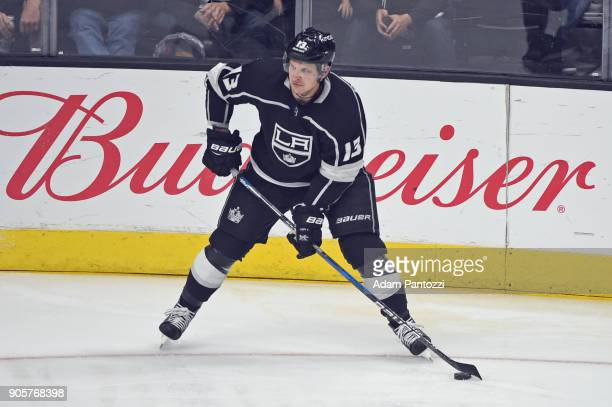 Kyle Clifford of the Los Angeles Kings looks to pass the puck during a game against the San Jose Sharks at STAPLES Center on January 15 2018 in Los...