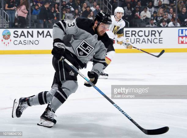 Kyle Clifford of the Los Angeles Kings races for the puck during the first period of the game against the Vegas Golden Knights at STAPLES Center on...