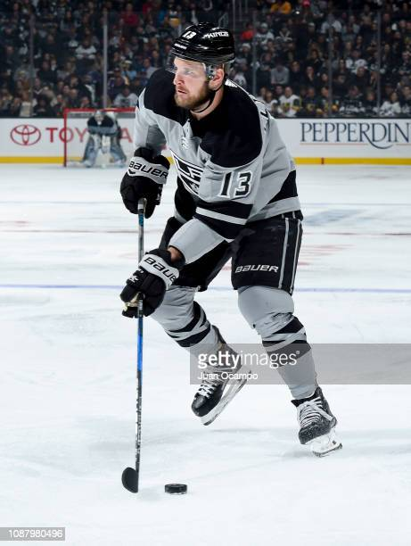 Kyle Clifford of the Los Angeles Kings skates with the puck during the third period of the game against the Vegas Golden Knights at STAPLES Center on...