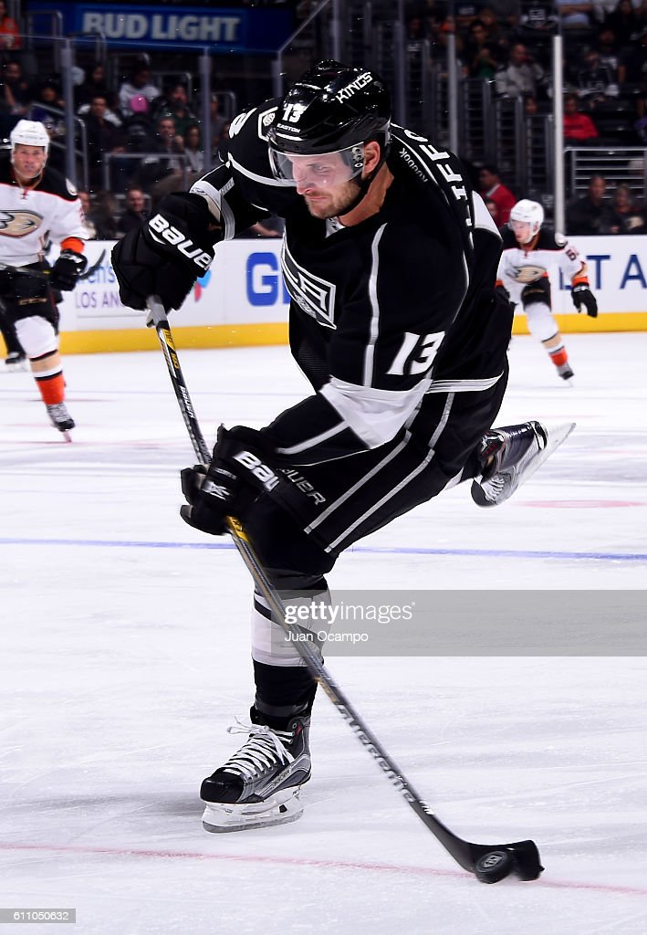 Kyle Clifford #13 of the Los Angeles Kings takes a slapshot during the game against the Anaheim Ducks on September 28, 2016 at STAPLES Center in Los Angeles, California.