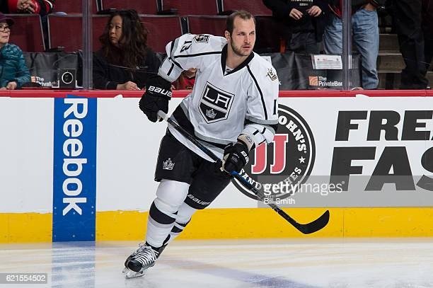 Kyle Clifford of the Los Angeles Kings warms up prior to the game against the Chicago Blackhawks at the United Center on October 30 2016 in Chicago...