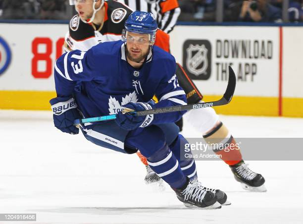 Kyle Clifford of the Toronto Maple Leafs skates against the Anaheim Ducks during an NHL game at Scotiabank Arena on February 7 2020 in Toronto...