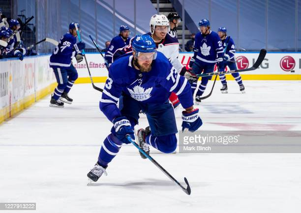 Kyle Clifford of the Toronto Maple Leafs skates against the Columbus Blue Jackets during the third period in Game Two of the Eastern Conference...