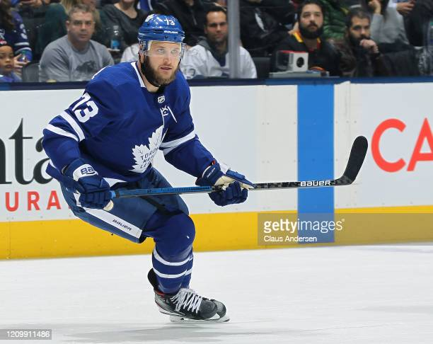 Kyle Clifford of the Toronto Maple Leafs skates against the Vancouver Canucks during an NHL game at Scotiabank Arena on February 29, 2020 in Toronto,...