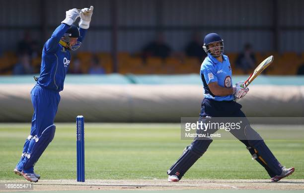 Kyle Coetzer of Northamptonshire is caught by Tim Ambrose of Warwickshire off the bowling of Ateeq Javid during the Yorkshire Bank 40 match between...