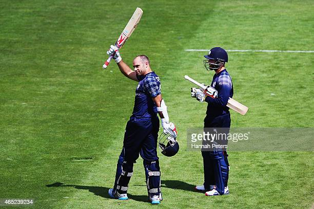 Kyle Coetzer of Scotland celebrates after scoring a century during the 2015 ICC Cricket World Cup match between Bangladesh and Scotland at Saxton...