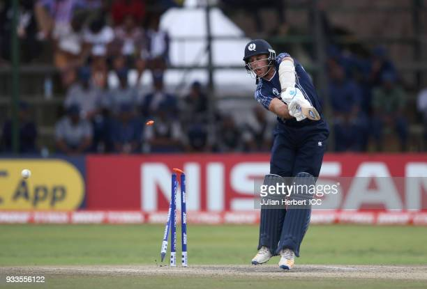 Kyle Coetzer of Scotland is bowled out by Boyd Rankin of Ireland during The Cricket World Cup Qualifier between Ireland and Scotland at The Harare...