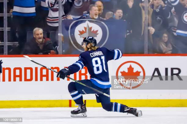 Kyle Connor of the Winnipeg Jets celebrates after scoring a third period goal against the Columbus Blue Jackets at the Bell MTS Place on January 31...