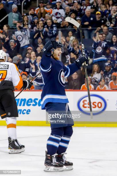 Kyle Connor of the Winnipeg Jets celebrates his first period goal against the Philadelphia Flyers at the Bell MTS Place on December 9 2018 in...