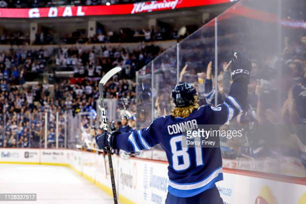 Kyle Connor of the Winnipeg Jets celebrates his second period goal against the Nashville Predators at the Bell MTS Place on March 1 2019 in Winnipeg...