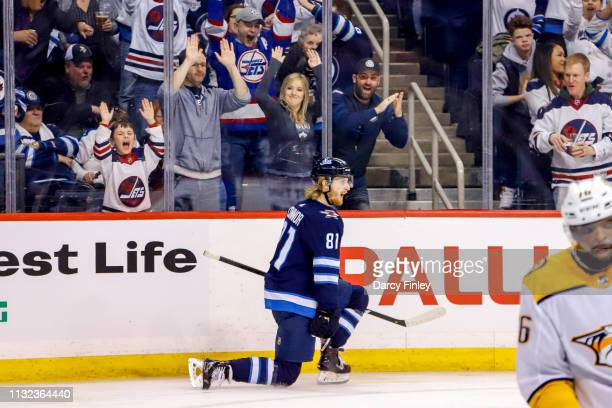 Kyle Connor of the Winnipeg Jets celebrates his second period goal against the Nashville Predators at the Bell MTS Place on March 23 2019 in Winnipeg...