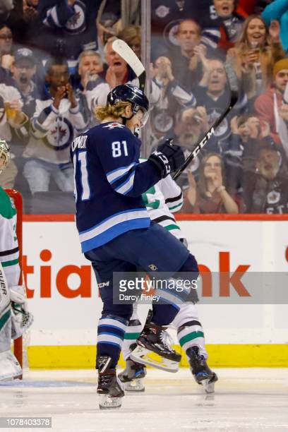 Kyle Connor of the Winnipeg Jets celebrates his third period goal against the Dallas Stars at the Bell MTS Place on January 6 2019 in Winnipeg...