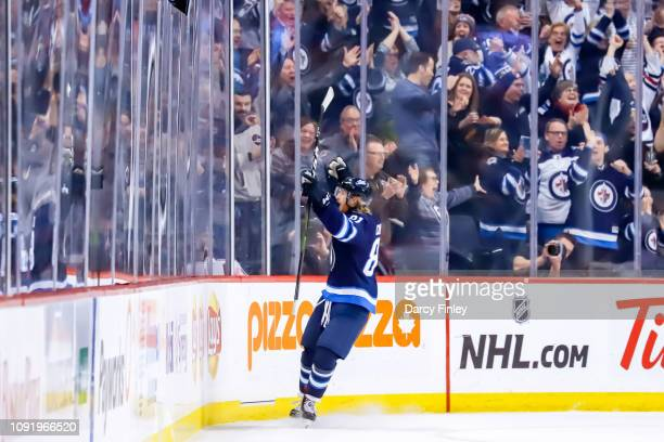 Kyle Connor of the Winnipeg Jets celebrates his third period goal against the Columbus Blue Jackets at the Bell MTS Place on January 31 2019 in...