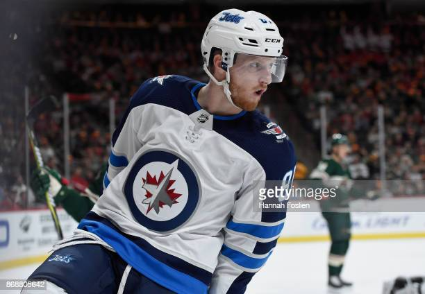 Kyle Connor of the Winnipeg Jets celebrates scoring a goal against the Minnesota Wild during the first period of the game on October 31 2017 at Xcel...