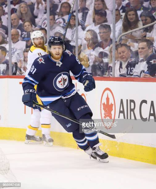 Kyle Connor of the Winnipeg Jets follows the play around the boards during first period action against the Nashville Predators in Game Four of the...
