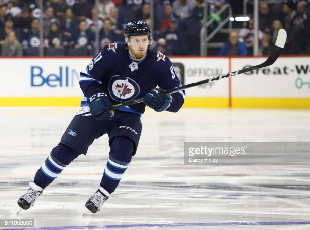 Kyle Connor of the Winnipeg Jets follows the play down the ice during first period action against the Dallas Stars at the Bell MTS Place on November...